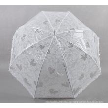 Weiße Liebe Kleine frische Damen Transparenter Regenschirm