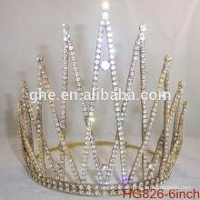 Perla corona de concurso de belleza y tiaras rhinestone boda tiara corona de plástico personalizado coronas