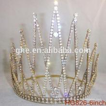 Pearl beauté concours couronne et tiaras strass mariage tiare couronne en plastique couronnes personnalisées