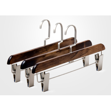 Natural Maple Wooden Hanger with Clips for Pants