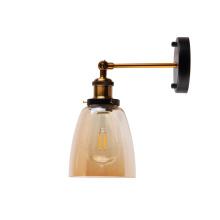 Lámpara de luz moderna de apliques de pared de vidrio de bronce