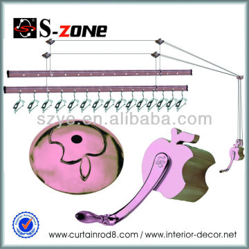 SZ12-04 copper color lifting clothes rack with 15 foldable hangers