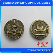 Rodada moeda de metal personalizado bronze antigo desafio de medalha de design 3D metam medalha de cobre moedas de crachá para presentes comemorativos, moedas de cópia de novidade
