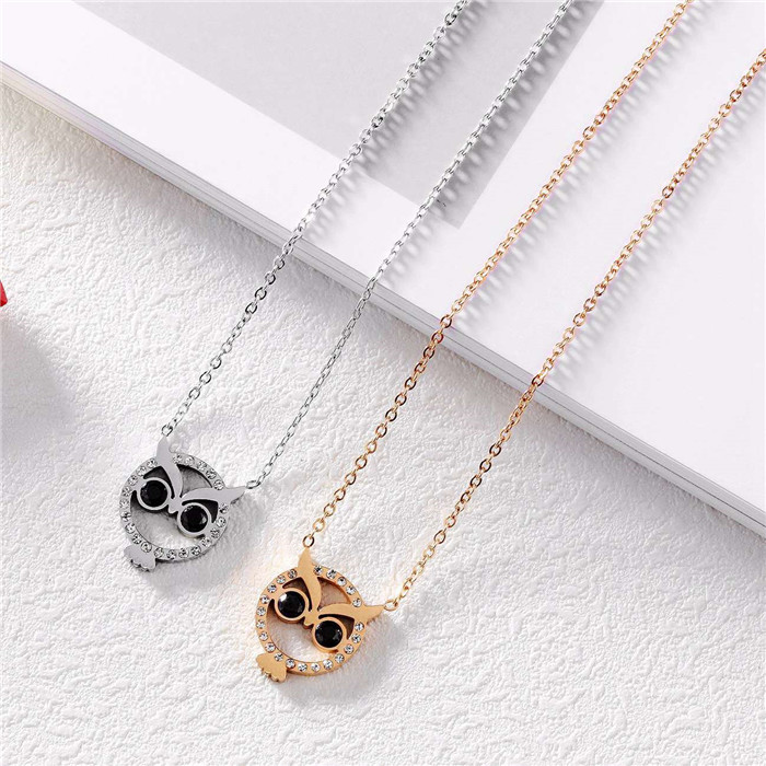 Owl Pendant Choker Necklace for women Stainess Steel LB0804-OWL (9)