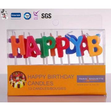 Venta al por mayor sin humo sin goteo vela de cumpleaños