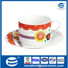 ceramic crockery drinking tea set with water/full lace Edge decal