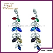 2015 Fashion designed earring colorful crystal beads earring long pendant earring