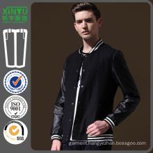 2016 PU Sleeves Men Custom Wholesale Embroidery Baseball Jacket