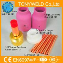 9 PK tig soldadura antorcha wp18 tig soldadura pistola de gas piezas de piezas de lentes