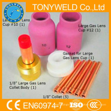 9 PK tig welding torch wp18 tig welding gun gas lens parts kits