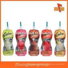 Bolso personalizado de la bolsa del canalón de la bebida del jugo del grado de la forma con la impresión