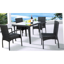 Modern Rattan Glass top Table and Chair