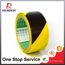 20y Long 48mm Wide 0.13 Thickness Hot sale Black Yellow Straight Stripes Floor marking Vinyl Caution Tape, Warning Tape