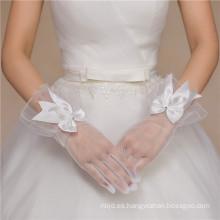 El vestido de boda nupcial blanco ata el cordón barato de la longitud de la muñeca appliques los guantes del cordón