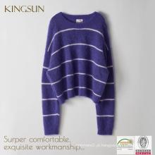 Pullover Mulheres, Camisola de tamanho maior, Stripe Mohair Sweater