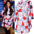 2017 New Arrival Christmas Plus Size Bodycon Fashion Printed Casual Dress Women Sexy