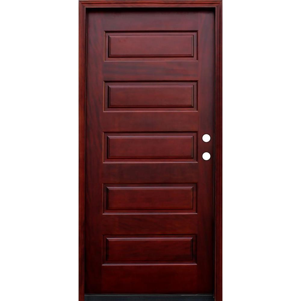 China 5 panel stained wood mahogany prehung front door for Wood door manufacturers