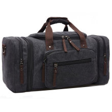 8642 High Quality Cotton Mens Canvas Leather Holdall Travel Duffle Overnight Weekend Satchel Totes Bag
