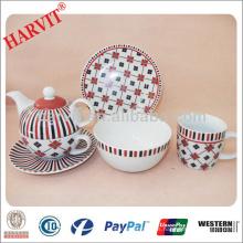Diseño geométrico moderno Líneas negras y rojas de los sistemas de té de la etiqueta / China Fabricantes de la vajilla Tazón de la porcelana de la taza de la taza /