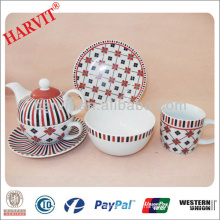 Modern Geometric Design Black&Red Lines Decal Tea Sets/China Tableware Manufacturers Porcelain Teapot Mug Plate/English Tea Set