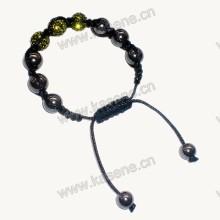 Мода браслет, черный акриловый браслет Rhinestone 10мм круглый Cloisonne бисера