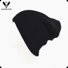 Simple Winter Acrylic Knitting Black Beanie Double Layer