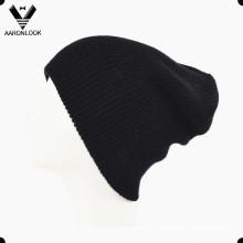 Simple couche acrylique en tricot Black Beanie Double couche