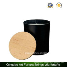 Filled Wax Scented Glass Candle with Wooden Lid
