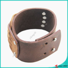 Fashion Brown Genuine Leather Stud Bracelet (LB)