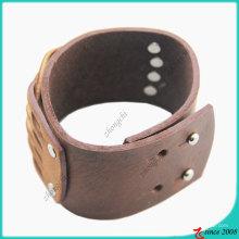 Moda marrom pulseira de couro genuíno do parafuso prisioneiro (lb)