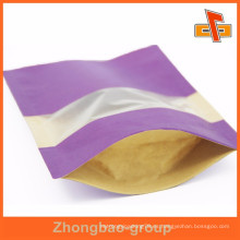 Cusomised CMYK Impreso Papel Kraft Snacks Bolsa de embalaje con ventana