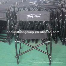 Chaise réalisateur, aluminium chaise directeur pliante en toile