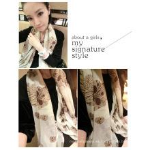 Nueva bufanda de seda de la impresión del diseño de la impresión de la gasa de la bufanda de seda de la bufanda del abrigo del invierno Bufandas largas