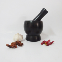 Polished Black Marble Mortar and Pestle