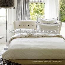 100% algodón 400TC satén blanco 7 estrellas conjunto de ropa de hotel