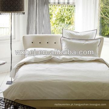 100% algodão 400TC cetim branco 7 estrelas conjunto de roupa de cama de hotel