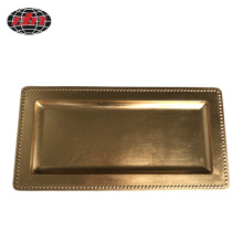 Golden Rectangle Plastic Charger Plate