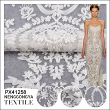 Bordado de alta calidad de la tela blanca del cordón de la venta de la moda de alta calidad