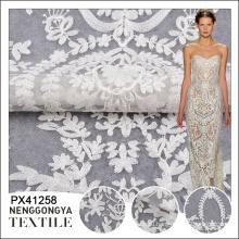 Высокое качество мода горячие продажа белый кружева вышивки ткани