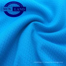 Tissu 100% polyester à séchage chimique évacuant l'humidité en nid d'abeille pour vêtements de sport en plein air