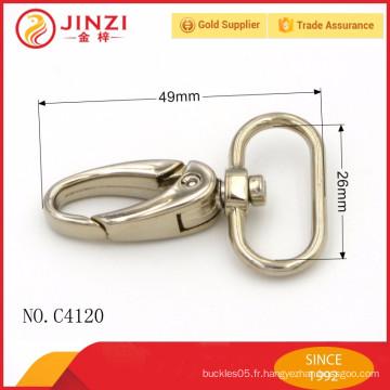 Crochet à fermeture éclair en métal à la mode avec alliage de zinc pour sacs