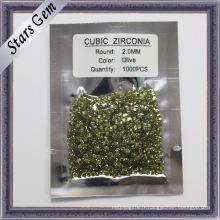Zircone cubique ronde verte brillante d'olive de MID pour les bijoux