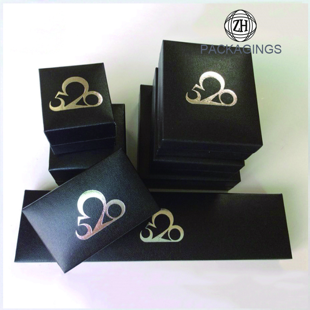 Wholesale black ring box jewelry box with logo