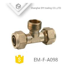 EM-F-A098 Conector de compressão de tubo de latão e encaixe de tubulação de rosca macho