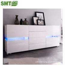 storage high gloss led side cabinet acrylic white PB factory