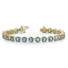 925 Silver Colored Oval and Round CZ Bracelet Jewelry