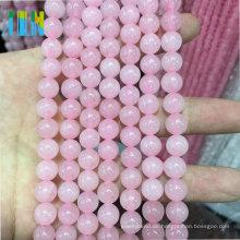 Günstige natürliche Rosenquarz Stein Edelstein Schmuck Perlen für Schmuck machen