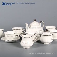 15pcs Pure White Logo Customized Fine Porcelain Antique Coffee And Tea Sets, Fine China Coffee Set For Sale