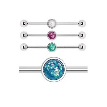 Synthetic Opal Opalite Scaffold Industrial Bar Stud