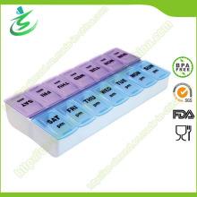 Boîte de pilule carrée hebdomadaire gratuite BPA, boîte de pilule de 7 jours